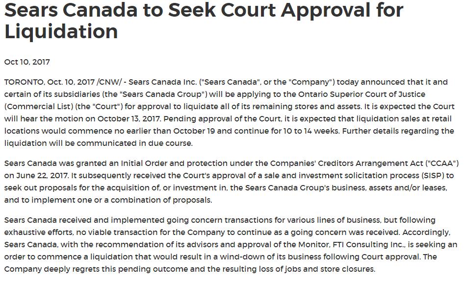 sears press release